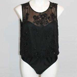 Oleg Cassini Black Tie Bodysuit Silk Beaded L